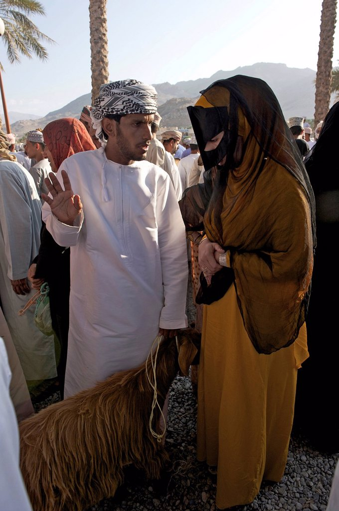 Sultanate of Oman, Al Dakhiliyah Region, Western Hajar Mountains, Nizwa, Friday cattle market : Stock Photo