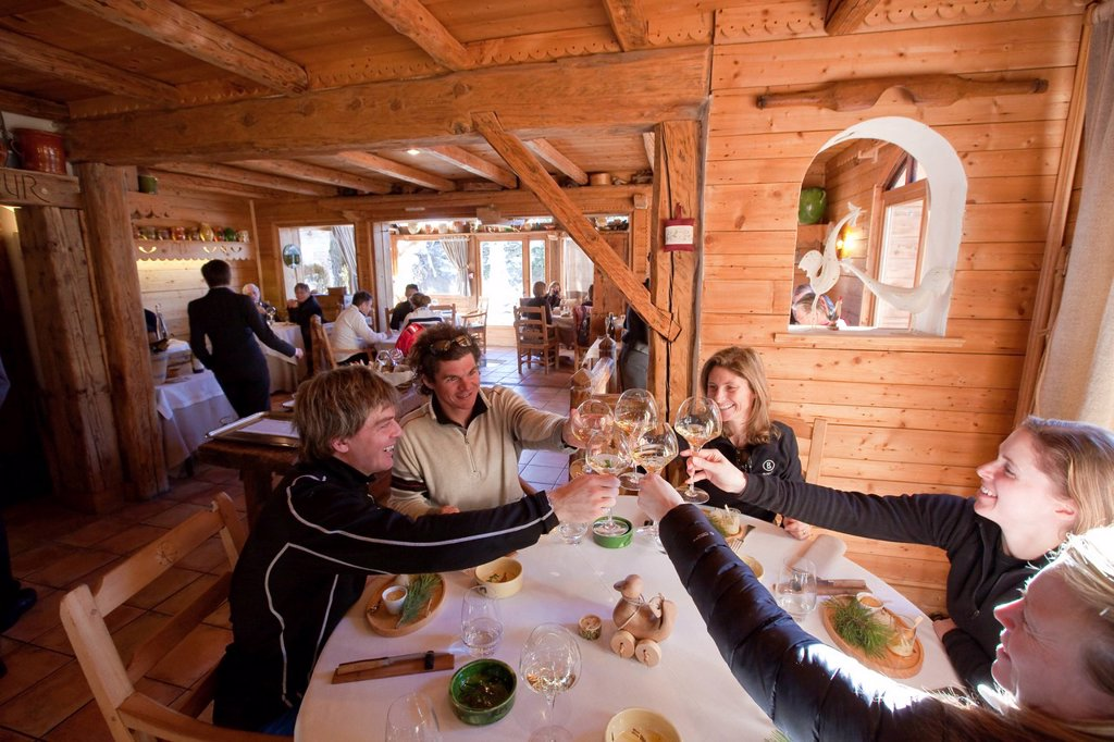 France, Savoie, St Martin de Belleville, hamlet of St Marcel, restaurant bar La Bouitte two stars to the guide Michelin, massif of Vanoise, Tarentaise valley, valley of Belleville : Stock Photo
