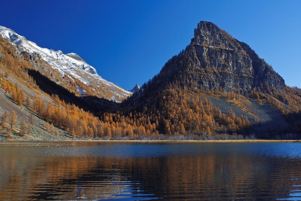 Stock Photo: 1792-146938 France, Alpes de Haute Provence, Parc National du Mercantour Mercantour National Park, Haute Hubaye, the Tower of Sagnes 2364m dominates the eponymic lake 1905 m