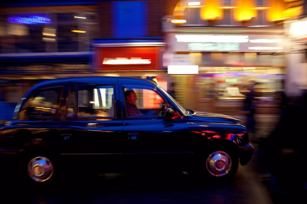 United Kingdom, London, Soho, Chinatown, Whitecomb Street, London taxi : Stock Photo