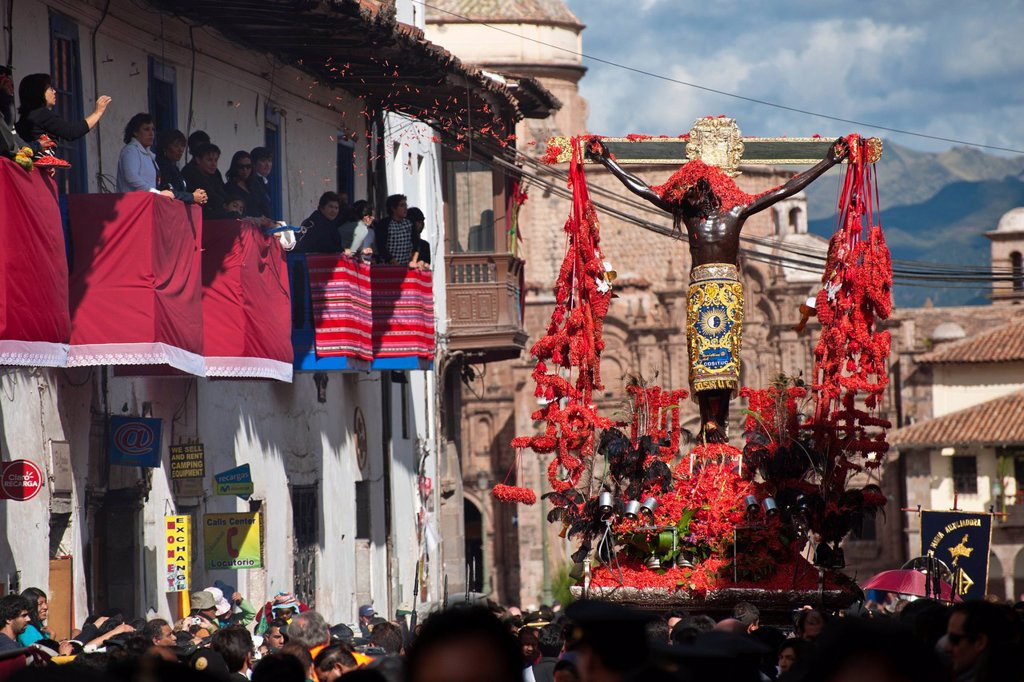 Stock Photo: 1792-148884 Peru, Cuzco Province, Cuzco, listed as World Heritage by UNESCO, Easter, Easter Monday, a procession of Christ on Earthquakes, black christ, patron of the city of Cuzco