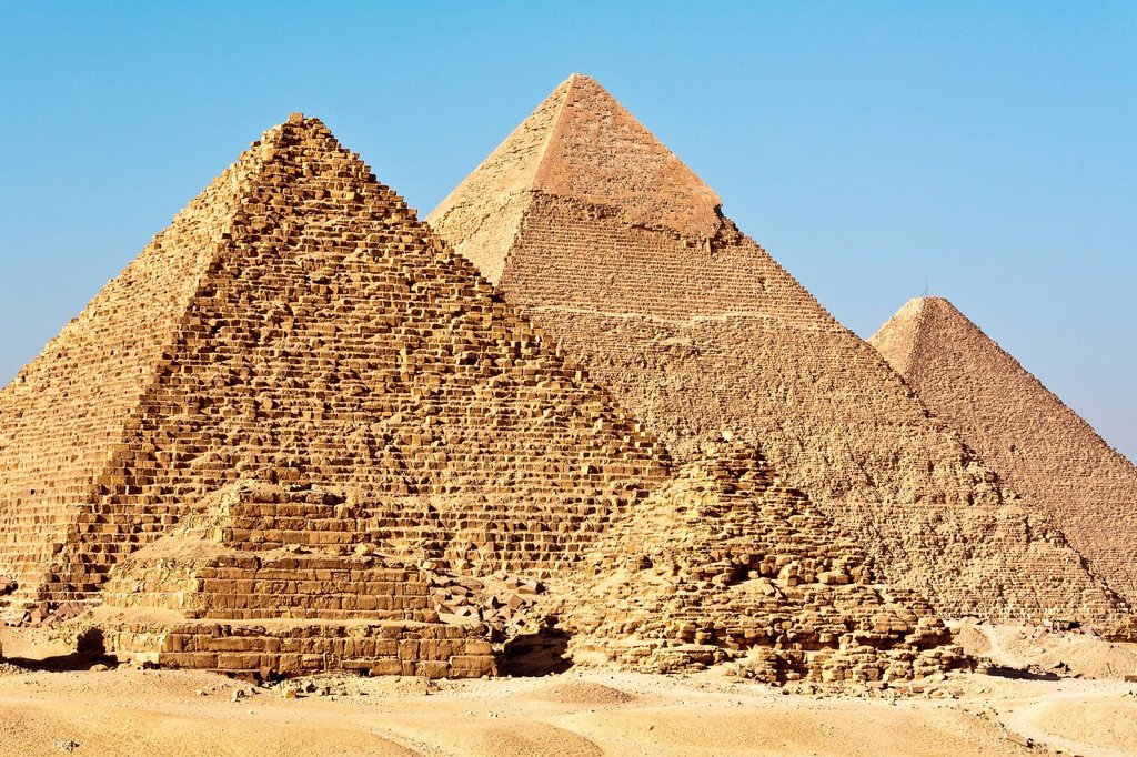 Egypt, Cairo, Giza, listed as World Heritage by UNESCO, pyramids : Stock Photo