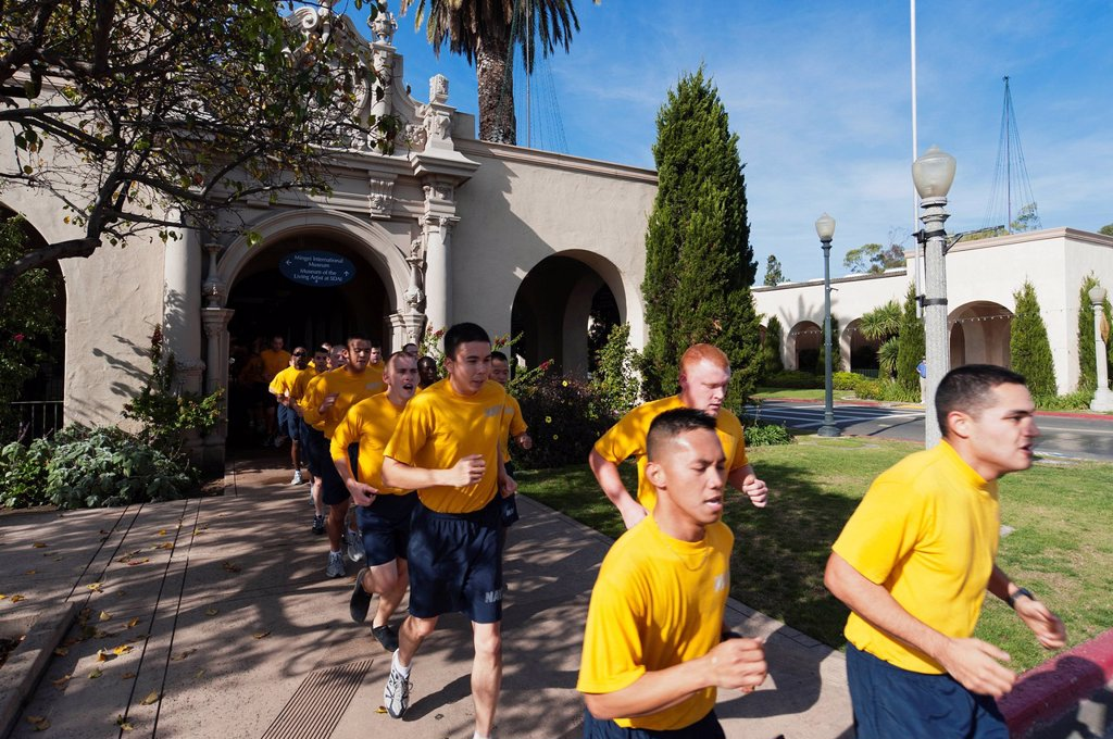 Stock Photo: 1792-149809 United States, California, San Diego, Marines doing jogging at Balboa park