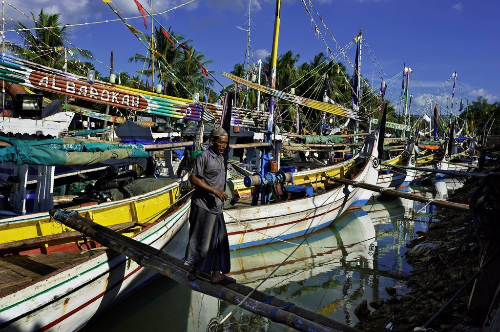 Indonesia, Java, East Java Province, Madura Island, Pasongsongan village, boats called Porsel : Stock Photo