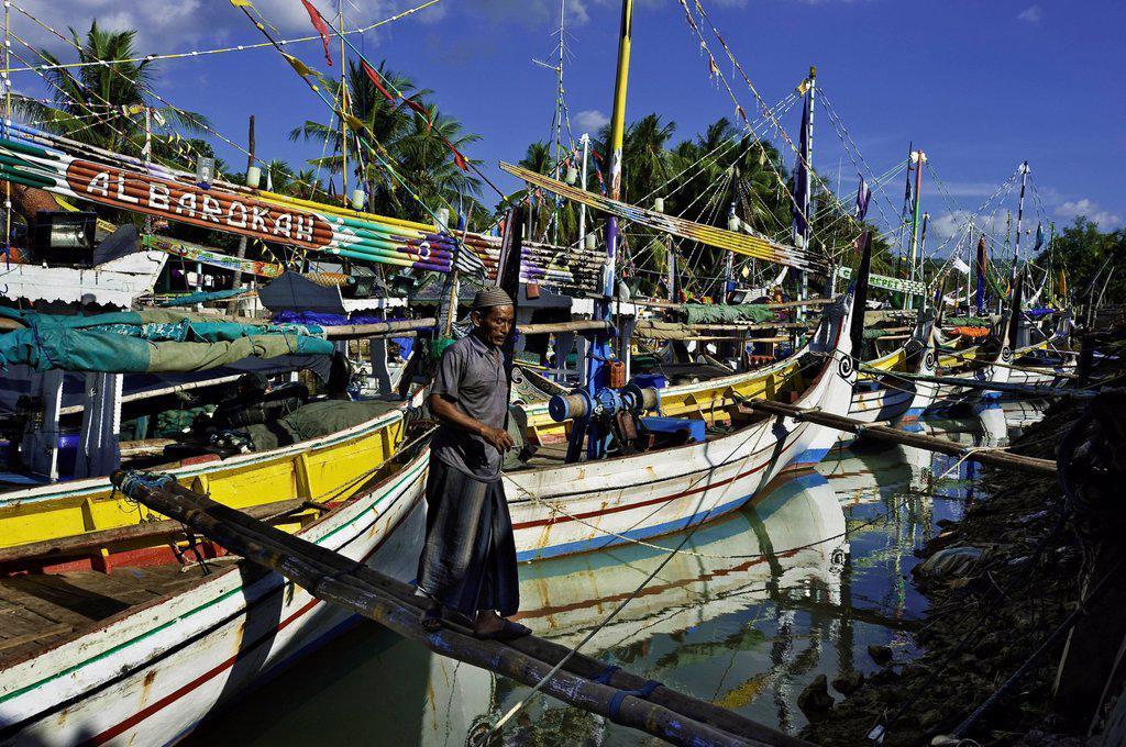 Stock Photo: 1792-149993 Indonesia, Java, East Java Province, Madura Island, Pasongsongan village, boats called Porsel