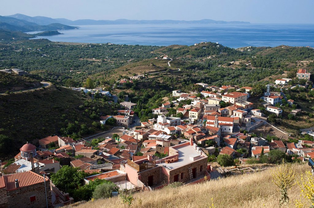 Stock Photo: 1792-150306 Greece, Chios Island, the picturesque village of Volissos topped by a Medieval castle