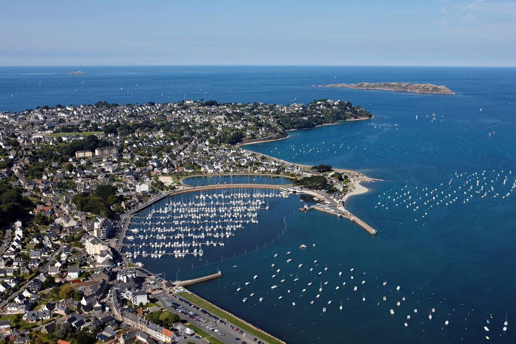 Stock Photo: 1792-150388 France, Cotes d´Armor, Cote de Granit Rose Pink Granit Coast, Perros Guirec, the harbour, Pointe du Chateau aerial view