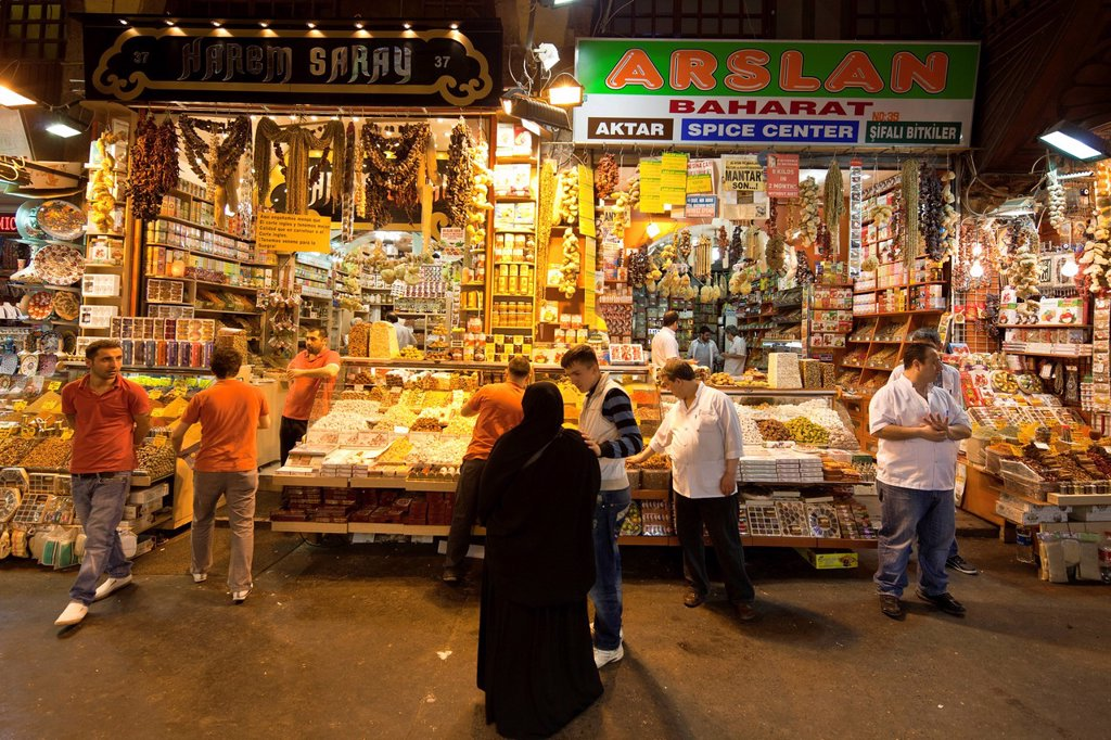 Turkey, Istanbul, historical centre listed as World Heritage by UNESCO, Sultanahmet district, the Egyptian Bazaar Misir Carsisi, known as the spice market : Stock Photo