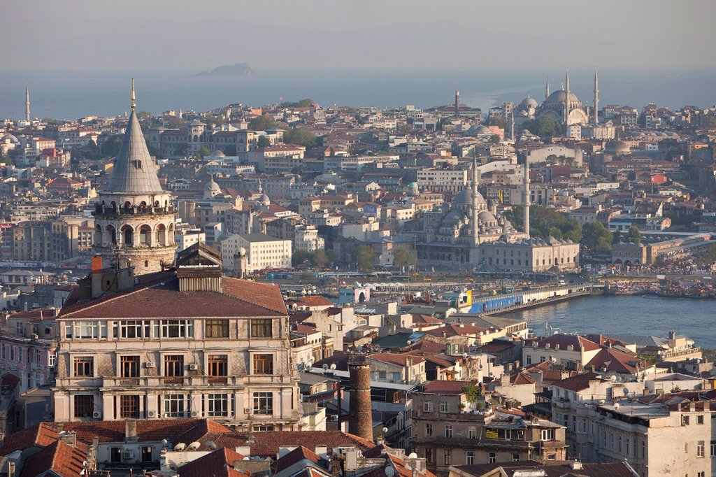 Turkey, Istanbul, Galata Tower in the foreground and the straits of the Golden Horn with the Sultanahmet district in the background : Stock Photo