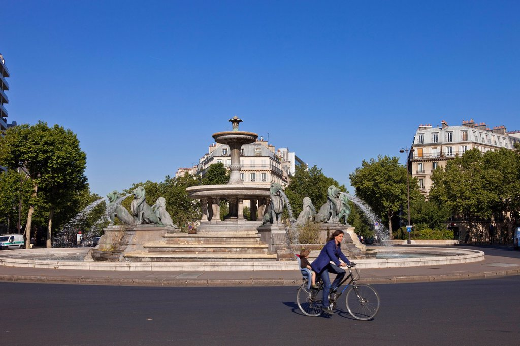 France, Paris, Daumesnil, Fountain Place Felix Eboue : Stock Photo
