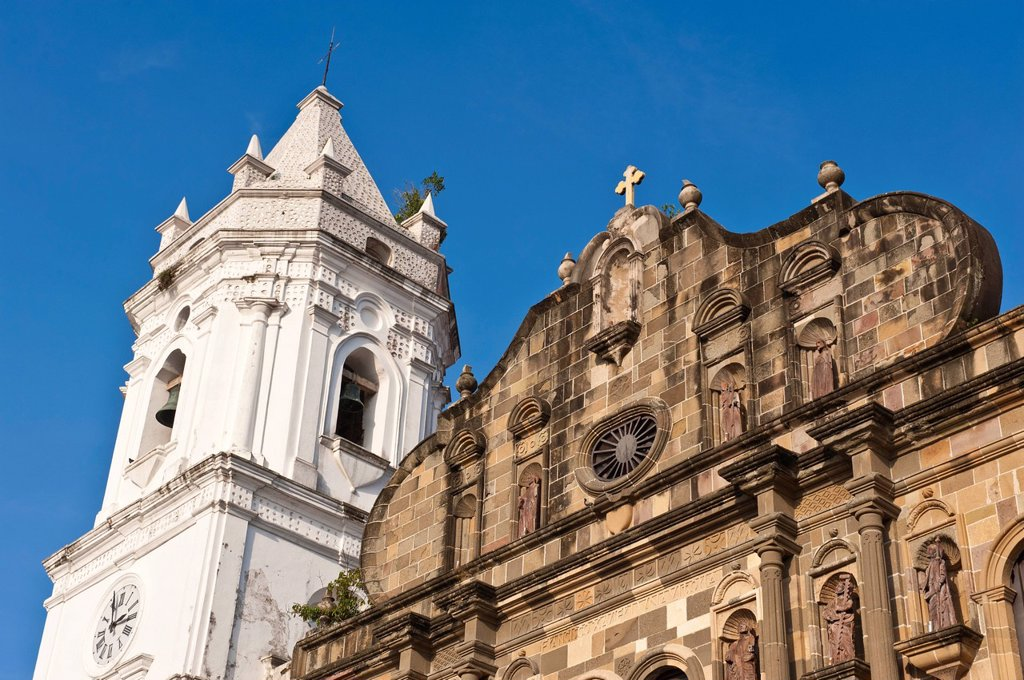 Panama, Panama City, historic town listed as World Heritage by UNESCO, Casco Antiguo, Barrio San Felipe, the cathedral of the XVIIth century : Stock Photo