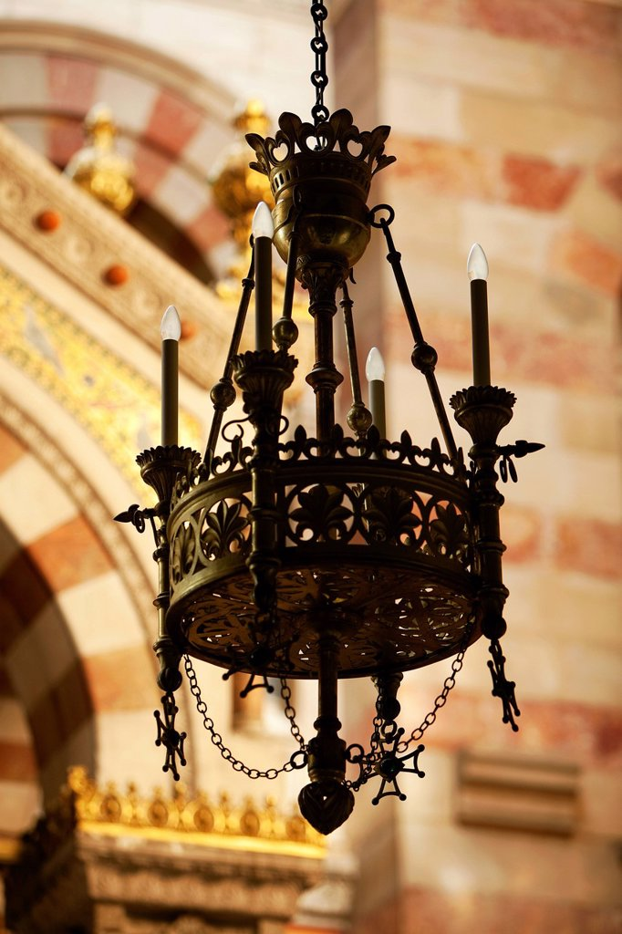 France, Bouches du Rhone, Marseille, 2nd district, Zone Euromediterranee, the Cathedral Choir The Major 19th century, chandelier : Stock Photo