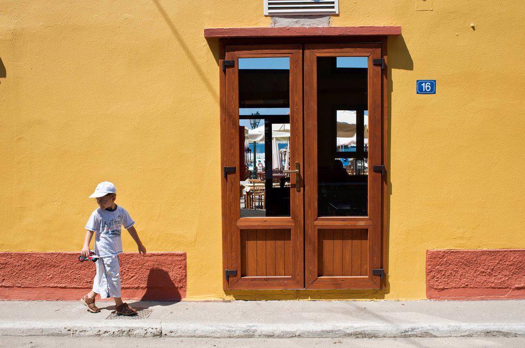 Greece, Lemnos Island, Myrina, capital town and main harbour of the island : Stock Photo