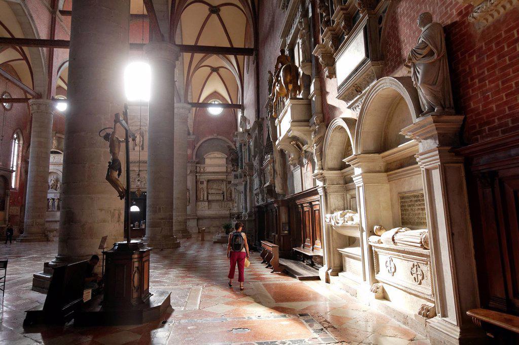 Italy, Venetia, Venice, listed as World Heritage by UNESCO, Castello district, Basilica di San Giovanni e Paolo, known as San Zanipolo : Stock Photo