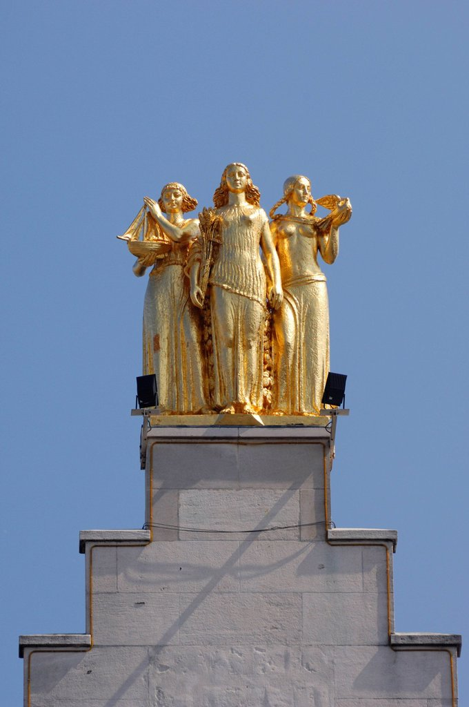 Stock Photo: 1792-153780 France, Nord, Lille, 3 golden statues atop the building´s facade of La Voix du Nord representing the Flanders, Hainault and Artois