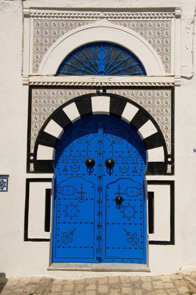 Tunisia, Sidi Bou Sad, view of white house´s village, typical door : Stock Photo