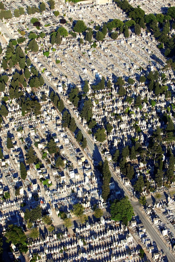 Stock Photo: 1792-153903 France, Bouches du Rhone, Marseille, 10th district, St Peter Cemetery aerial view