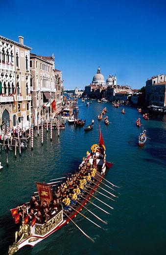 Stock Photo: 1792-33432 Italy, Venetia, Venice, the Historical Regatta (Regata Storica in Italian) on the Canal Grande