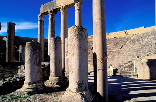 Tunisia, northern region, Dougga archaeological site, the theatre : Stock Photo