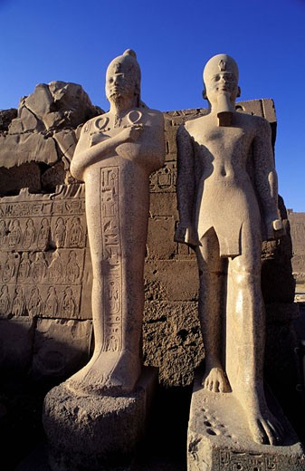 Egypt, Luxor, statues from Karnak temple : Stock Photo