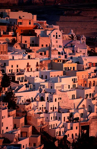 Greece, Cyclades Islands, Santorini island, Thera village catch on the old caldeira : Stock Photo