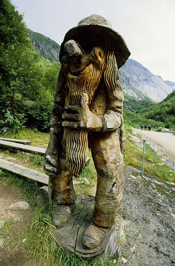Stock Photo: 1792-35493 Norway, North Cape region, Sogn Og FJordane, Nordjord Trolls around Briksdal Glacier