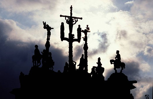 France, Finistere, Peyben village, a Calvary from 1555 : Stock Photo