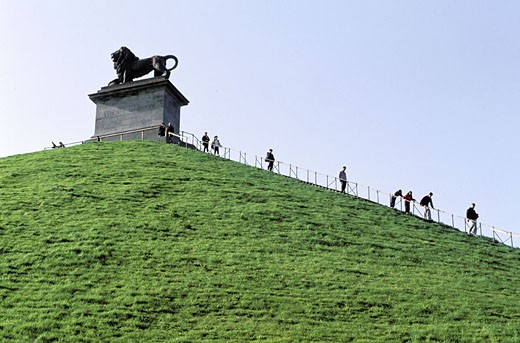 Belgium, Waterloo, the Lion hill on the battlefield : Stock Photo