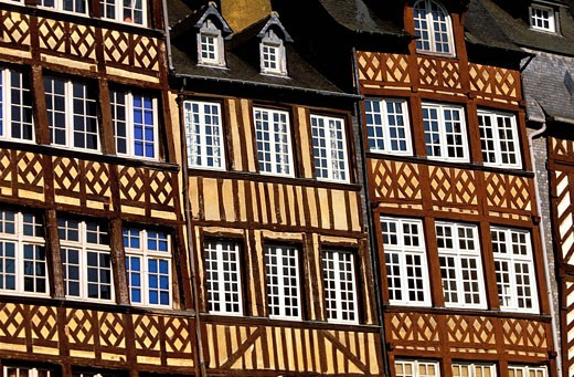 Stock Photo: 1792-36725 France, Ille et Vilaine, Rennes, the Champ Jacquet square is lined with seventeenth century half timbered houses