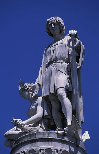 Stock Photo: 1792-37196 Italy, Liguria, Genoa, Christopher Colombus? statue on the Aquaverde square