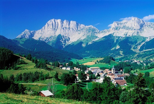 France, Isere, village of Gresse en Vercors at the bottom of the Grand Veymont 2341 m in the Vercors natural regional park : Stock Photo