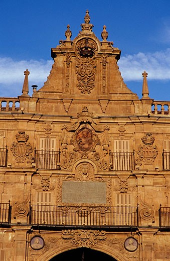 Spain, Castile_Leon, Salamanca, Plaza Mayor in the old town, listed as World Heritage by UNESCO, detail of a royal pavilion : Stock Photo