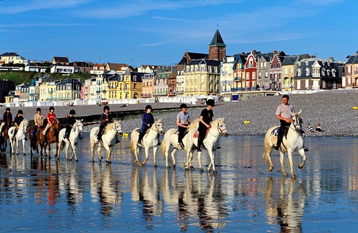 Stock Photo: 1792-37952 France, Somme, horse riding on the Mers les Bains beach in background, seafront with the villas of the end of XIXth century