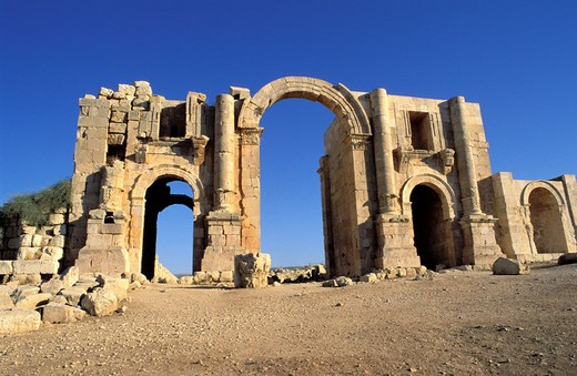 Stock Photo: 1792-37970 Jordan, the biblical city of Jerash (Gerasa), the Triumphal Arch of Hadrian