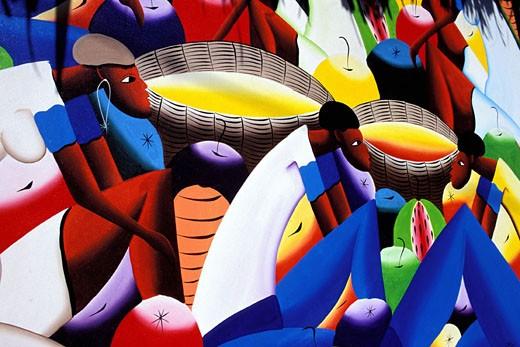 Dominican Republic, Cabarete, naive painting : Stock Photo