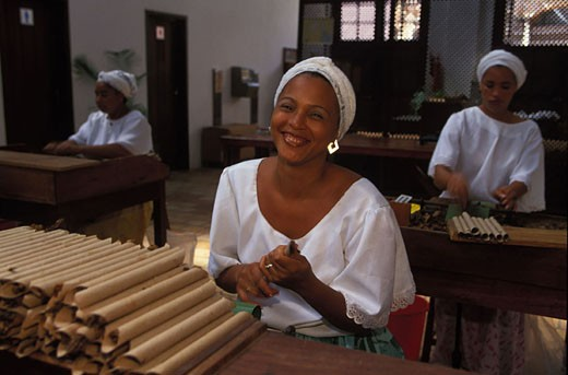 Brazil, Bahia state, in Sao Felix, the manufacture of cigars at Dannemann factory : Stock Photo