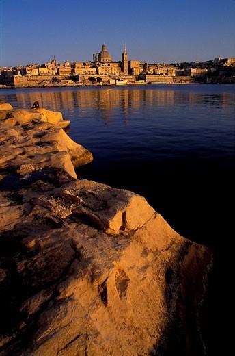 Malta, Valletta seen from Sliema : Stock Photo