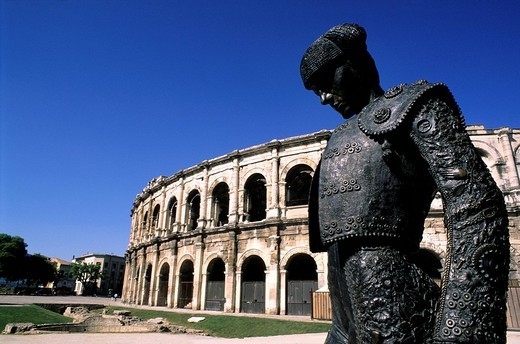 Stock Photo: 1792-39006 France, Gard, Nimes, Place des arenes, Nimeno II torero statue by Serena Carone in 1994