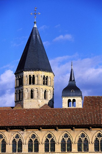 France, Saône-et-Loire (71), Cluny abbey, holy water bell tower : Stock Photo