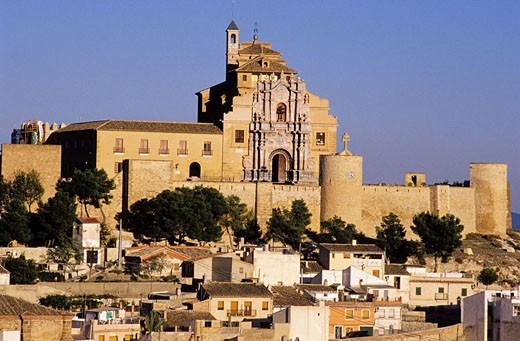 Stock Photo: 1792-39219 Spain, Murcia, Caravaca de la Cruz, panorama of the town with the Castillo in the background and the Vera Cruz sanctuary