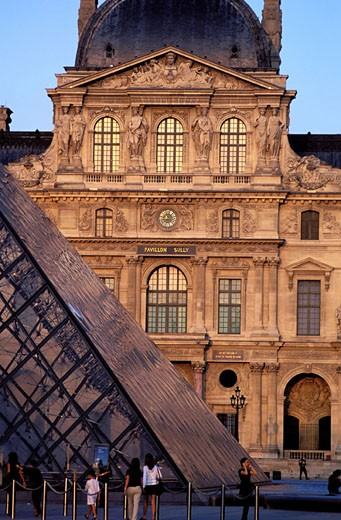 France, Paris (75), Museum and Louvre pyramid by Pei in the middle of the Cour Carrée : Stock Photo
