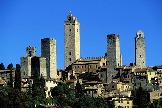 Italy, Tuscany, village of San Gimignano delle belle Torri called the city of the beautiful towers : Stock Photo