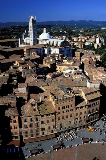 Italy, Tuscany, Siena, panorama from the medieval tower of Torre del Mangia : Stock Photo