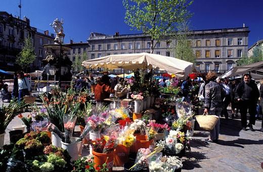 Stock Photo: 1792-40893 France, Aude (11), Carcassonne, market on Place Carnot