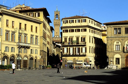 Italy, Tuscany, Florence, the Santa Croce square and the Arnolfo tower of the Palazzo Vecchio in background : Stock Photo