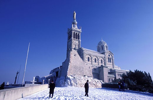 France, Bouches-du-Rhône (13), Marseille, Notre-Dame-de-la-Garde under the snow : Stock Photo