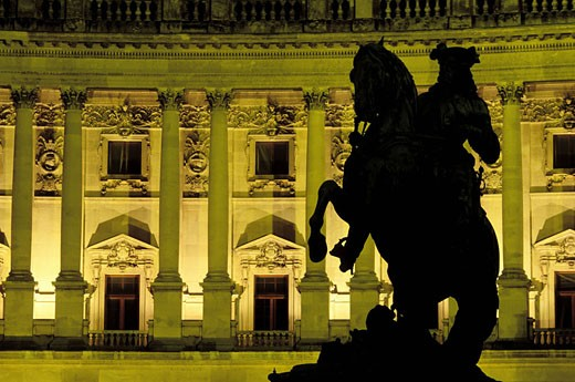 Austria, Vienna, Hofburg Palace, Neue Burg with Prince Eugene´ statue : Stock Photo