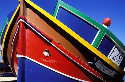 Stock Photo: 1792-43461 Malta, Gozo Island, rowboat with Osiris ´eye in M?Garr village