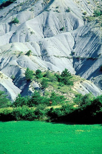 France, Drome, Baronnies Region, erosion landscape after the Gorges of the Eygues river : Stock Photo