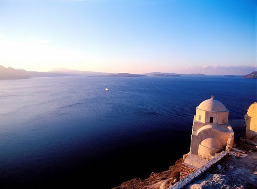 Greece, Cyclades Islands, Santorini Church on the Caldeira at Oia, : Stock Photo